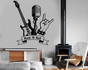 Wall Decal Music Rock Guitar Microphone Vinyl Sticker Mural Art 1587dz