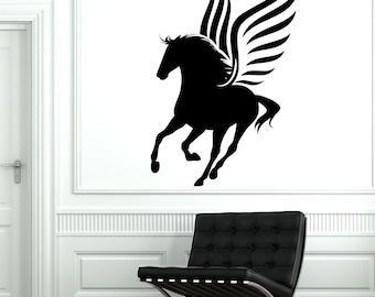 Wall Vinyl Fairytale Horse Wings Pegasus Mural Vinyl Decal Sticker 1780dz