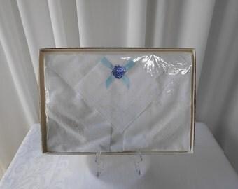Vintage Boxed Handworked Handkerchiefs Pack of Three Unused NOS - Original Packaging