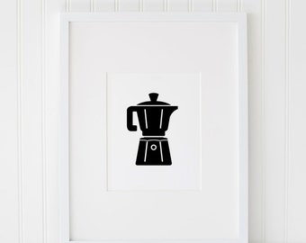 Coffee Pot INSTANT DOWNLOAD Printable Art, Coffee Printables, Brew Coffee Print, Coffee Pot Printable, Coffee Artwork, Digital Art