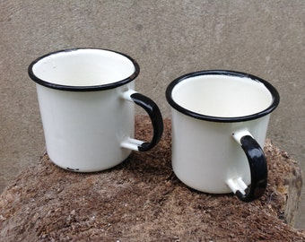 Two Enamel White Mugs, Camping Mugs, Soviet Enamel Mug, Rustic Enamelware, Farmhouse Decor