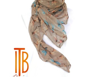 Beige Spring Scarf / Womens scarves / Dragonfly Scarf / Fashion Accessories / Spring Fashion Scarf / Boho Scarf / Romantic Gifts For Her