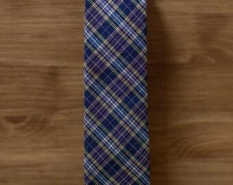 men's necktie - purple navy plaid