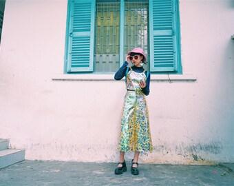 reflected rainbow pants, trousers, pants metallic sheen, wide leg pants, pink, yellow, green - JWCong