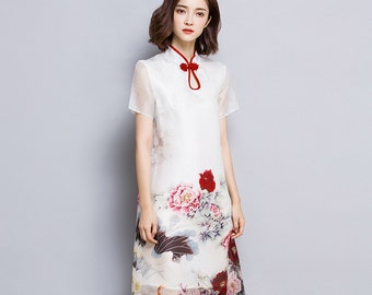 Shanshui - Floral print manmade silk dress,  Chinese cheongsam, midi dress in retro style, large size