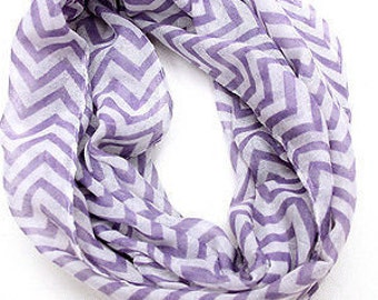 HOLIDAY SALES 30% OFF*** light purple and White Chevron Print Infinity Scarf, spring scarf, summer scarf, autumn scarf, loop scarf