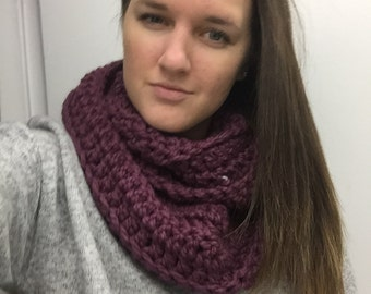 Chunky Infinity Scarf- Fig color
