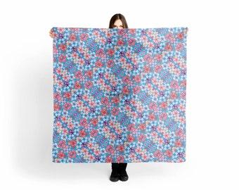 Blue Cascading Floral Chirimen Scarf, Shawl, Wrap