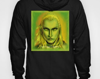 Tolkien Hoodie, Green Legolas Greenleaf - 4 Sizes Available + Pull Over or Zip Up