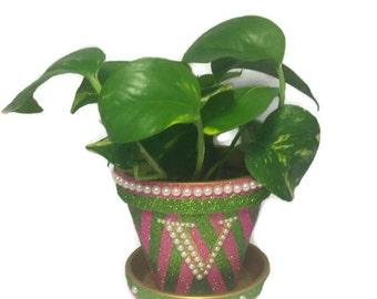 Pink and Green Glitter Flower Pot, AKA Inspired Flower Pot