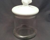 Vintage Glass Jar Rooster White Lid Farm Chicken Cookie Jar