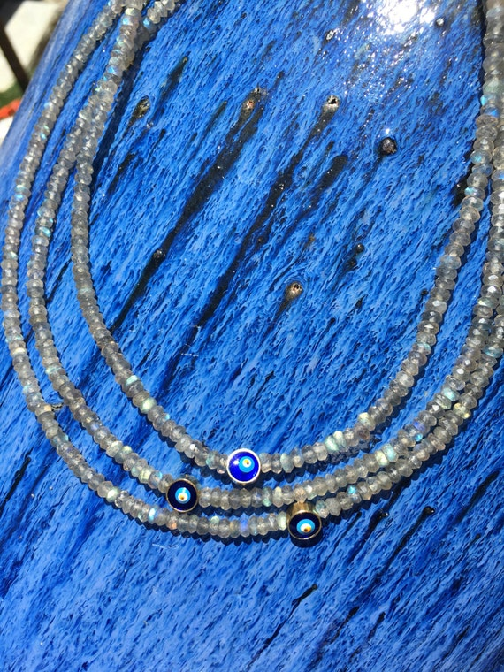Labradorite & Evil Eye Gemstone Necklace