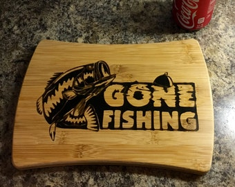 Gone fishing cutting board / chopping block / serving tray / fishing