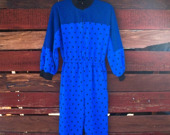 Vintage Polka Dot Romper - Blue & Black Jumper - Sweatshirt Coverall 1980s