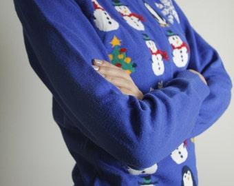 Blue Christmas Sweater Snowmans