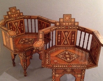 Pair of Antique Levantine Arm Chairs, Inlaid Parquetry, Hand Made