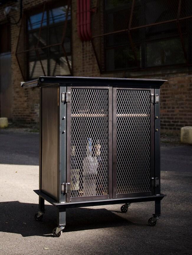 Bar Cart liquor cabinet industrial Weld