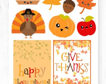 Kawaii Thanksgiving Planner Stickers Scrapbook Stickers November Stickers