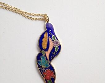 Cloisonne pendant, cloisonne pendants,  blue cloisonne pendant, cloisonné necklace, cloisonné pendants, vintage cloisonné jewelry, N71