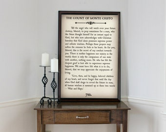 COUNT of MONTE CRISTO - Book Page Wall Art - Book Lovers Large Wall Poster- Great For Home Decor or Gift