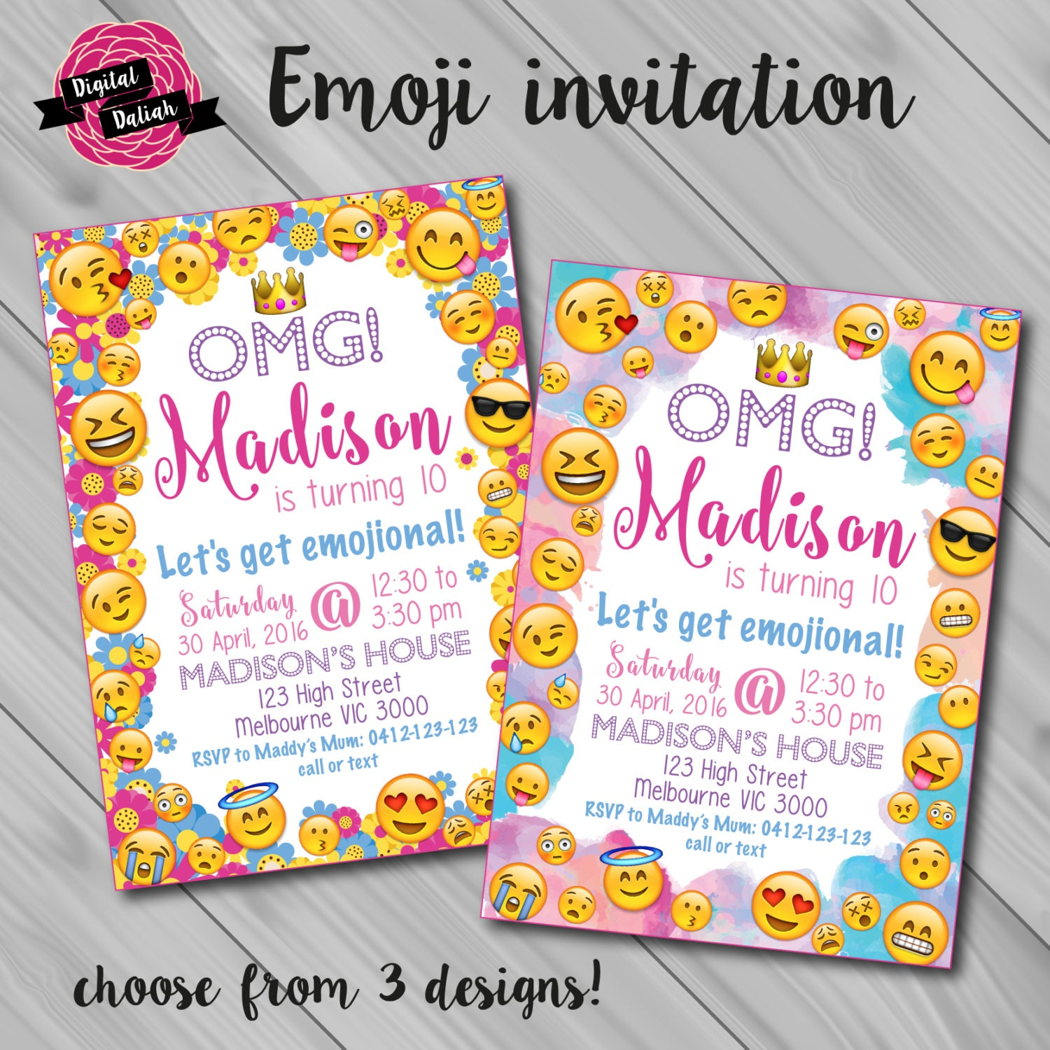 Emoji Emoticon Birthday Invitation. Choose From 3 By