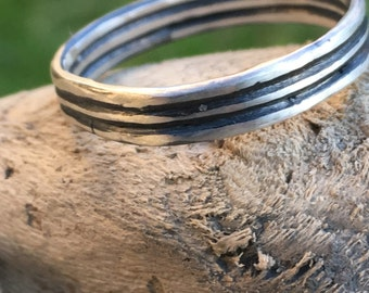 oxidised sterling silver ring triple band No54