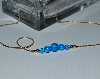 OPAL NECKLACE // Opal Ball Necklace - Opal Jewelry - Dark Blue Opal Necklace Gold - Dot Necklace - Opal Bead Necklace - Opal Charm Necklace