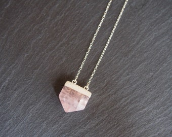 Rose Quartz Shield necklace // Rose Quartz pendant