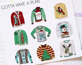 Planner Stickers Tacky Christmas Sweater for Erin Condren, Happy Planner, Filofax, Scrapbooking