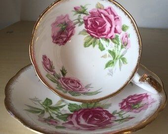 """Royal Standard """"Orleans Rose"""" Vintage Teacup and Saucer, Pink Rose Flower Tea Cup and Saucer, English Floral Bone China, Birthday Gift"""