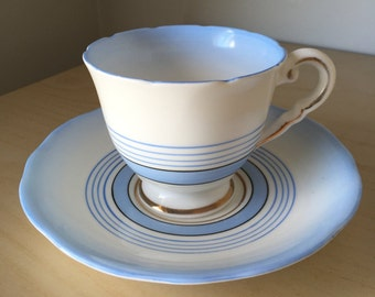 Royal Stafford Blue Ombre Vintage Teacup and Saucer, Faded Light Blue Stripe Tea Cup and Saucer, English China