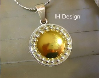 trendy design of IH bicolor silver pendants (one-off) gold with chain