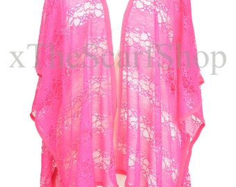 Hot Pink Lace Floral Kimono,Kaftan,Beach Coverup,Pool Wrap,Holiday,Festival Top,Womens,Girls,One Size,Goth,Gothic,Boho,Caftan,Teen(PFLW14)