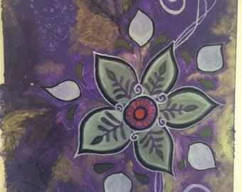 Canvas Art, mixed media, flowers, swirls, purple, gold, white