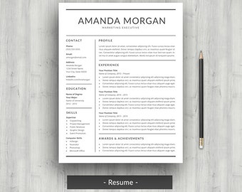 Resume Template | CV Template for Word | Professional Resume Design | Modern Resume with Cover Letter | Two Page Resume | Instant Download