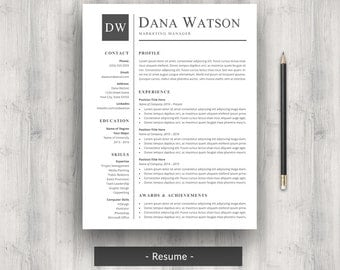 professional resume cv template for word modern classic two page resume cover - One Page Resume Template