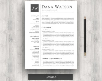professional resume cv template for word modern classic two page resume cover letter instant download letter or a4
