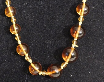 Amber glass beads-- extra long, hand knotted and graduated