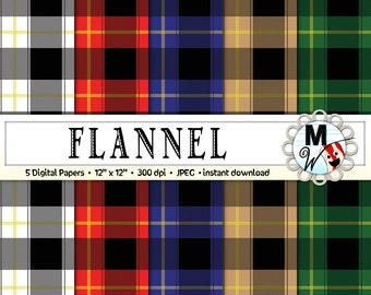 Flannel Digital Paper Pack for Instant Download as Buffalo Plaid Scrapbook Paper, Flannel Background, Buffalo Check Printable Rustic Paper