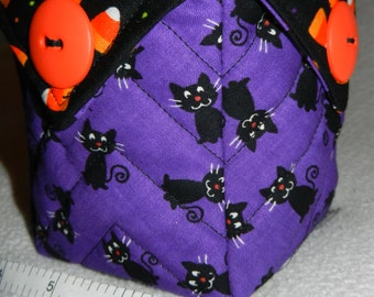 Quilted Halloween Candy Bowl, (Black Cats & Candy Corn) - READY TO SHIP!!