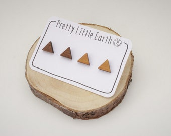 Triangle Stud Earrings - Two Pairs | Laser Cut Geometric Wooden Jewellery