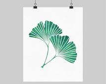 Digital Printable Artwork Ginkgo Leaf Gingko Ginko Print Teal Green Watercolor Botanical Print Teal Bedroom Decor 8X10 16X20 A4 Sizes