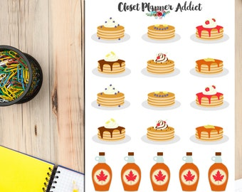 Pancake Day Planner Stickers   Pancakes Stickers   Food Stickers   Maple Syrup   Cute Food   Breakfast Stickers   Yummy Stickers (S-098)