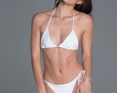 White Bikini / Bathing Suit / Ruched Bikini Bottom / Scrunch Butt / Swimwear / Swimsuit / Bathing suit