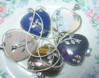 Silver Plated Heart Pendant Necklace Featuring Lapis Lazuli, Aventurine, Brown or Blue Goldstone, Amethyst, Rose Quartz, Healing Stones