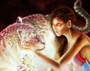 One - Prints of Original Painting of a Girl with a Brightly Colored Snow Leopard