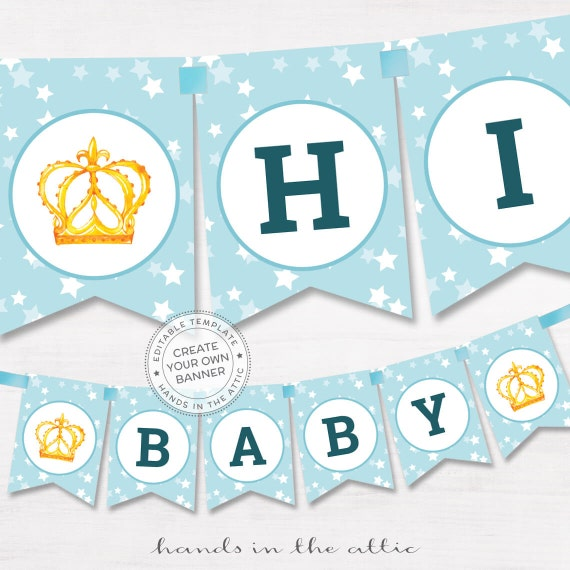 blue baby shower banner boys little prince stars editable name garland printable bunting. Black Bedroom Furniture Sets. Home Design Ideas