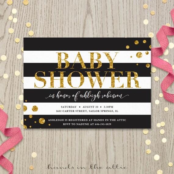 black white gold bridal shower baby shower gold glitter invitation