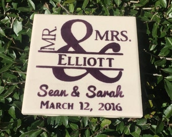 Wedding Coasters - Set of 4 - Custom Color - Gift, marriage, Anniversary, bride and groom,