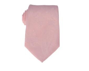 Baby Pink Paisley Tie.Wedding Ties.Groomsmen Ties.Silk Skinny Ties.Mens Gifts.Tie Set